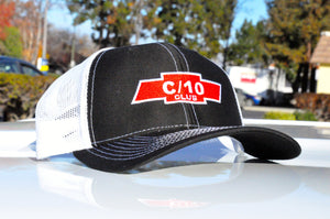 black and white c10 club apparel trucker hat