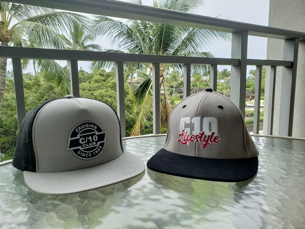 Gray & Black C10 Lifestyle logo Flexfit Flatbill Hat