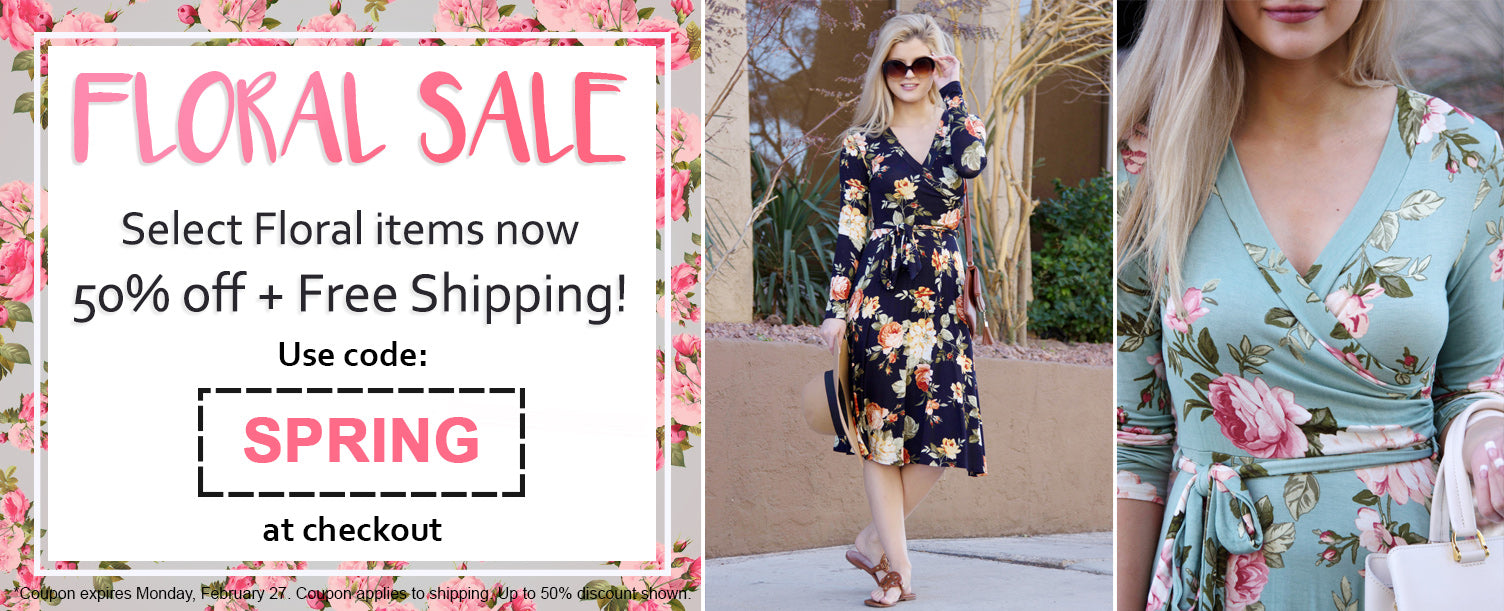 Select Florals now 50% off + Free Shipping with Code: SPRING