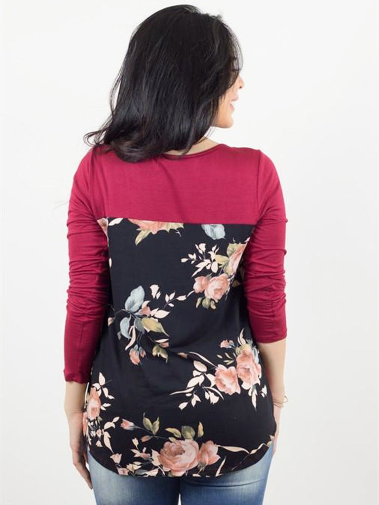 Allison Avery - Floral Back Crossfront Top - Free Shipping Over $50