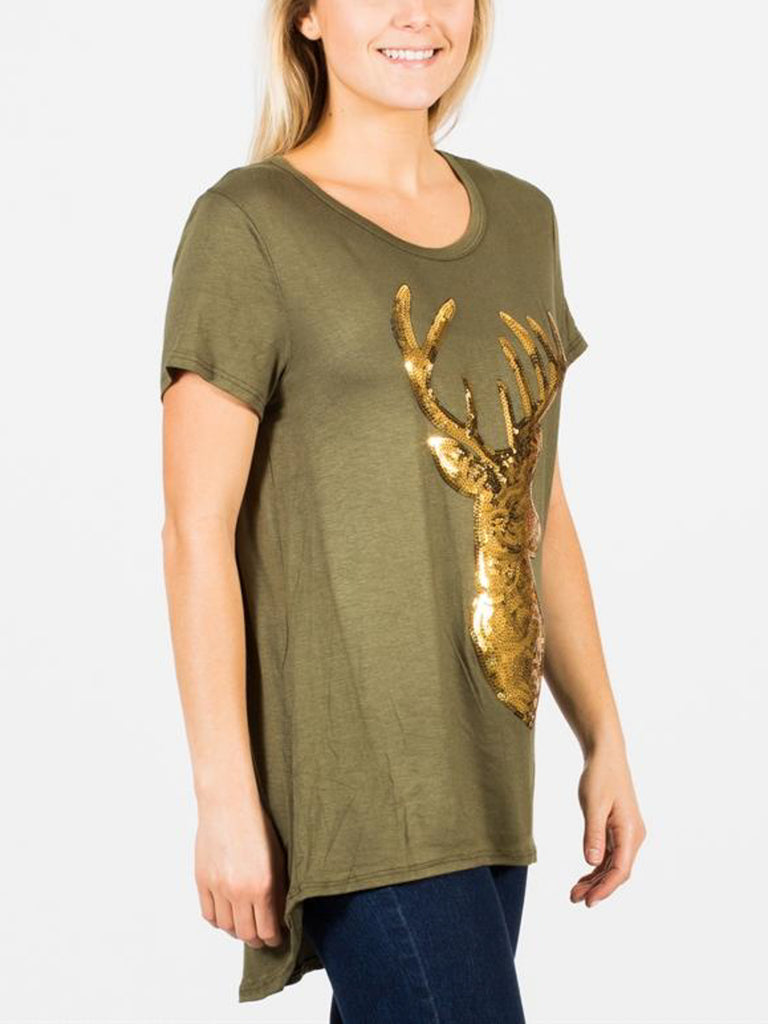 Allison Avery - Sequin Reindeer Tee - Free Shipping Over $50