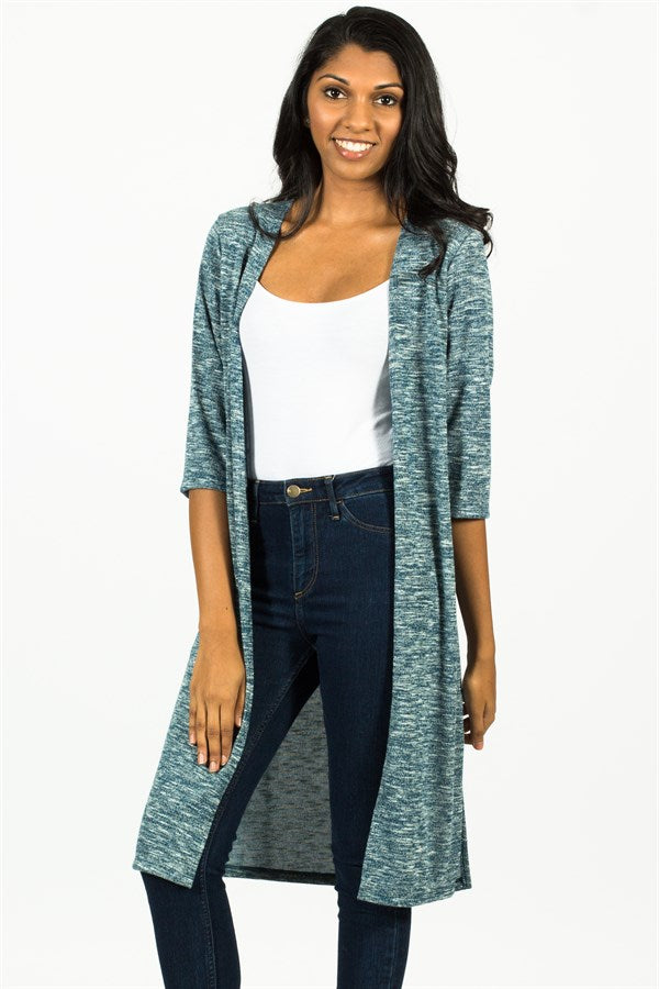 Long Melange Cardigan