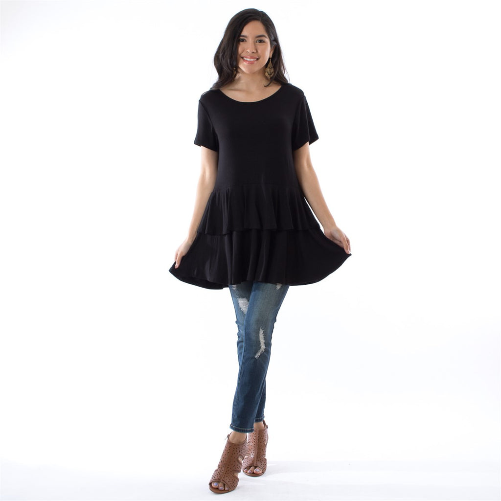 Short Sleeve Double Ruffle Tunic
