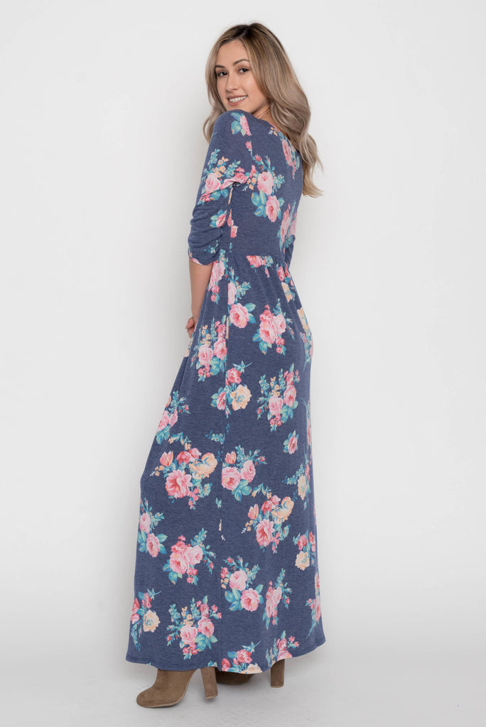 Allison Avery - Floral Pocket Maxi Dress - Free Shipping Over $50