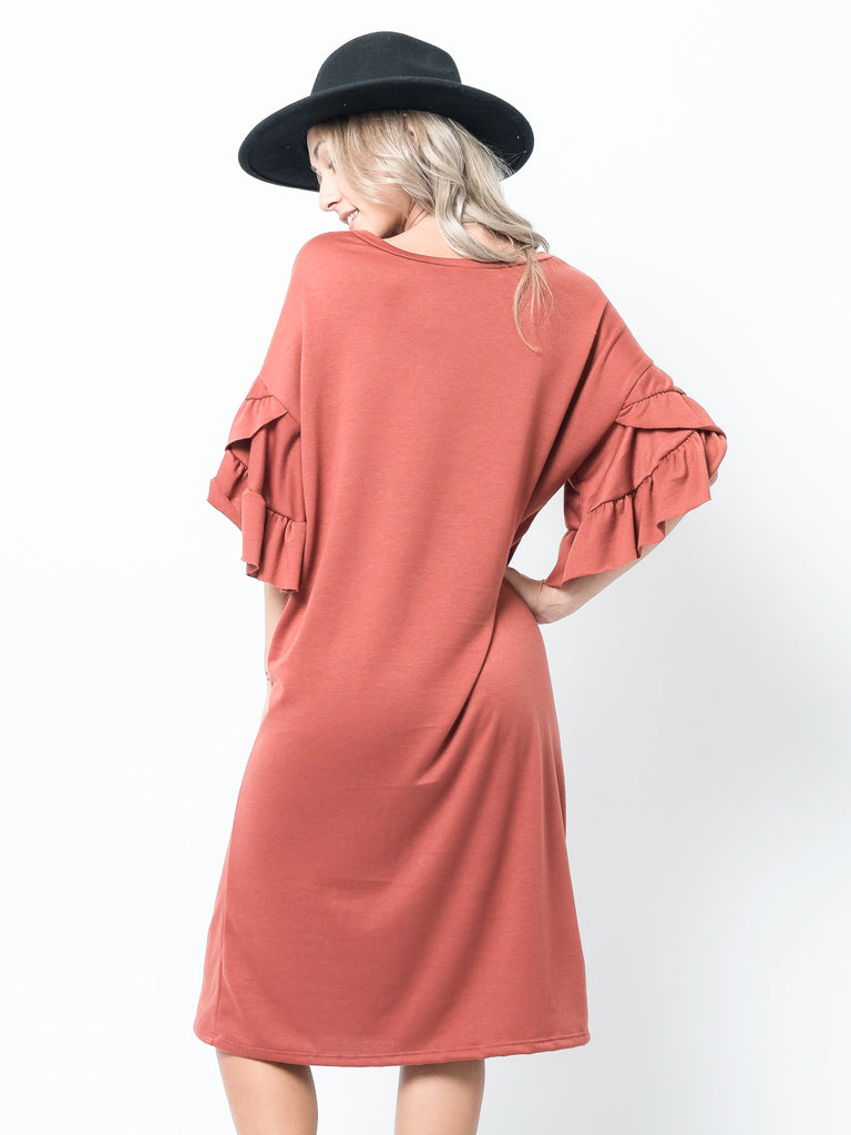 Allison Avery - Double Ruffle Sleeve Dress - Free Shipping Over $50