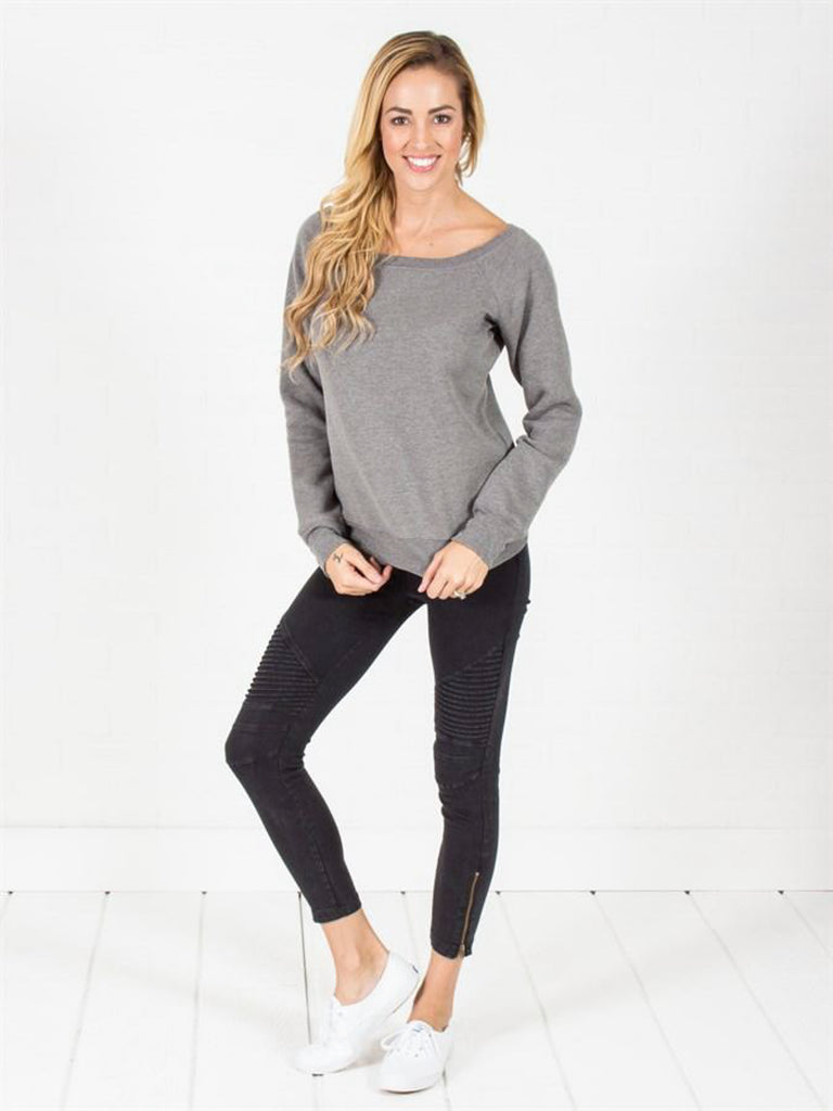 Allison Avery - Wide Neck Fleece Pullover - Free Shipping Over $50