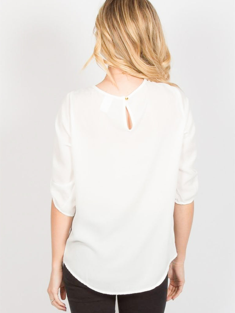 Allison Avery - Pleated Chiffon Blouse - Free Shipping Over $50