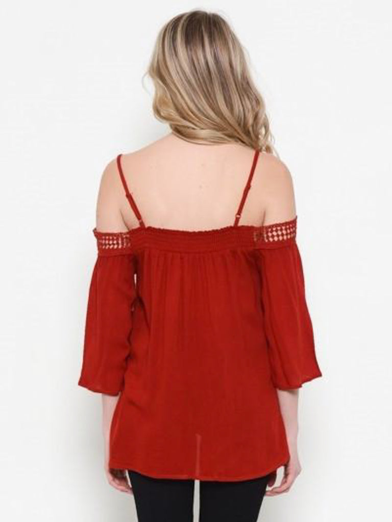 Allison Avery - Lace Trim Open Shoulder Top - Free Shipping Over $50