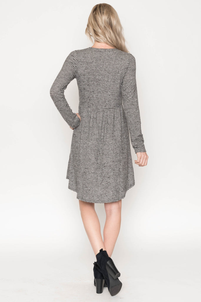 Allison Avery - Striped Rounded Hem Dress - Free Shipping Over $50