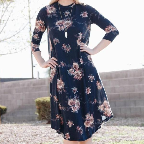 Allison Avery - Asymmetrical Floral Midi Dresses - Free Shipping Over $50