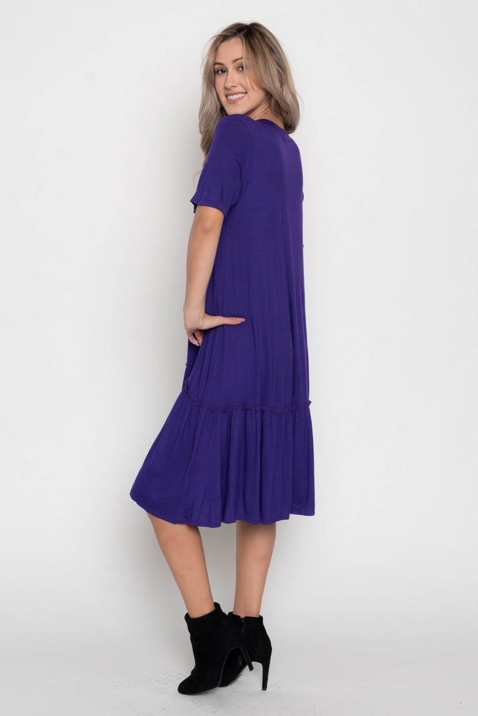 Allison Avery - Tiered Bottom Midi Dress - Free Shipping Over $50