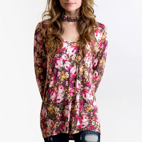 Allison Avery - Floral Choker Top - Free Shipping Over $50