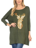 Allison Avery - Sequin Reindeer Tunic - Free Shipping Over $50