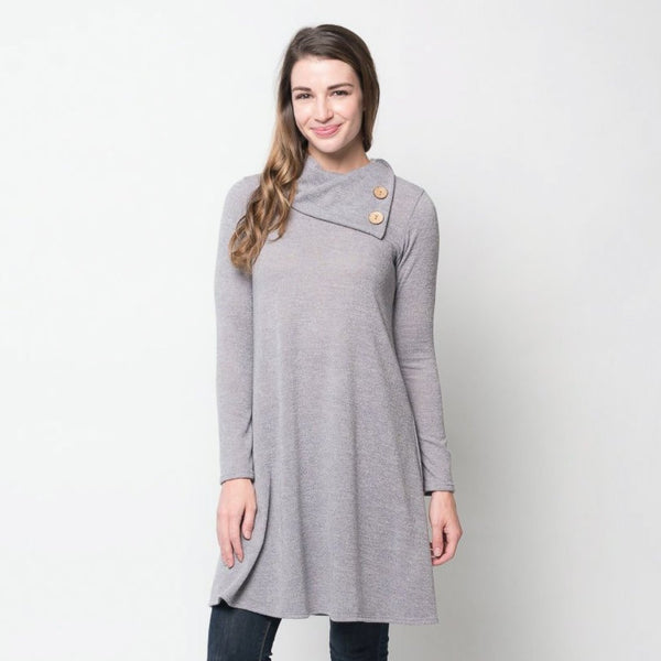 Allison Avery - Button Sweater Tunic - Free Shipping Over $50