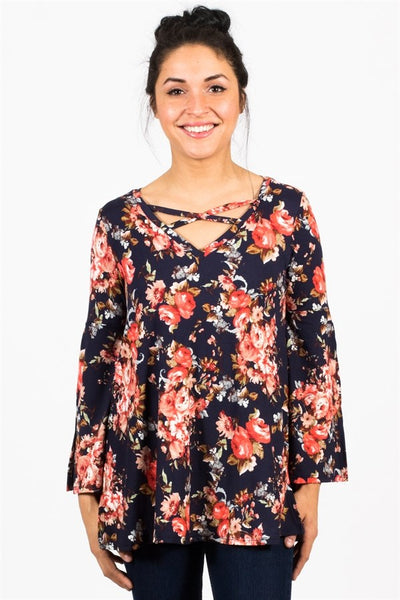 Beautiful Floral Belle Sleeve Tunics