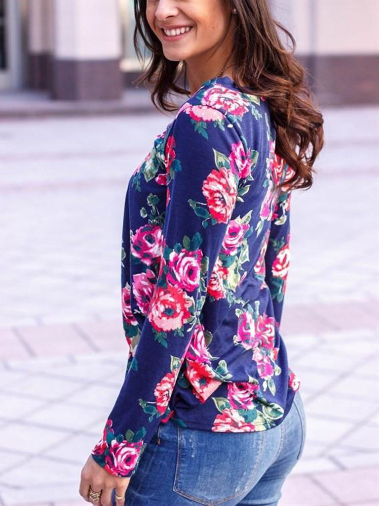 Allison Avery - Floral Long Sleeve Top - Free Shipping Over $50