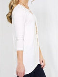 Allison Avery - 3 4 Sleeve Back Slit Tunic - Free Shipping Over $50
