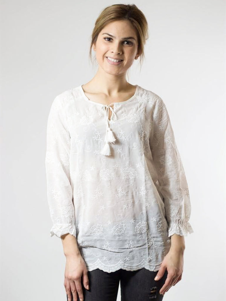Allison Avery - Beautiful Emboidered Lace Blouse - Free Shipping Over $50