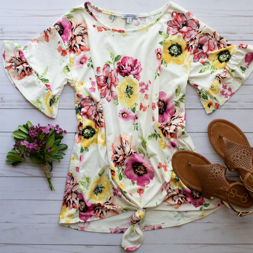 Summer Floral Ruffle Sleeve Top