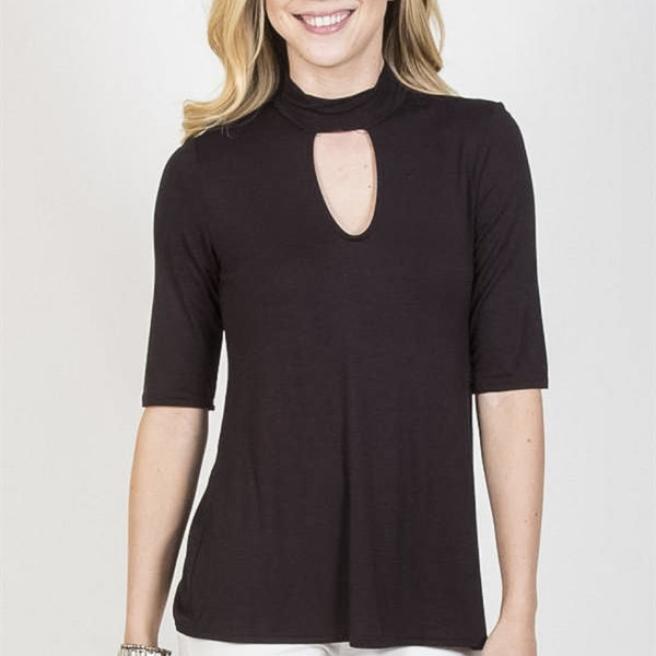 Allison Avery - Half Sleeve Keyhole Top - Free Shipping Over $50