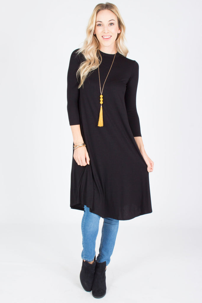3/4 Sleeve Midi Dress