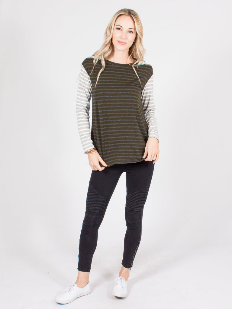 Allison Avery - Stripe Contrast Top - Free Shipping Over $50