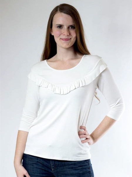Allison Avery - 3 4 Sleeve Ruffle Top - Free Shipping Over $50