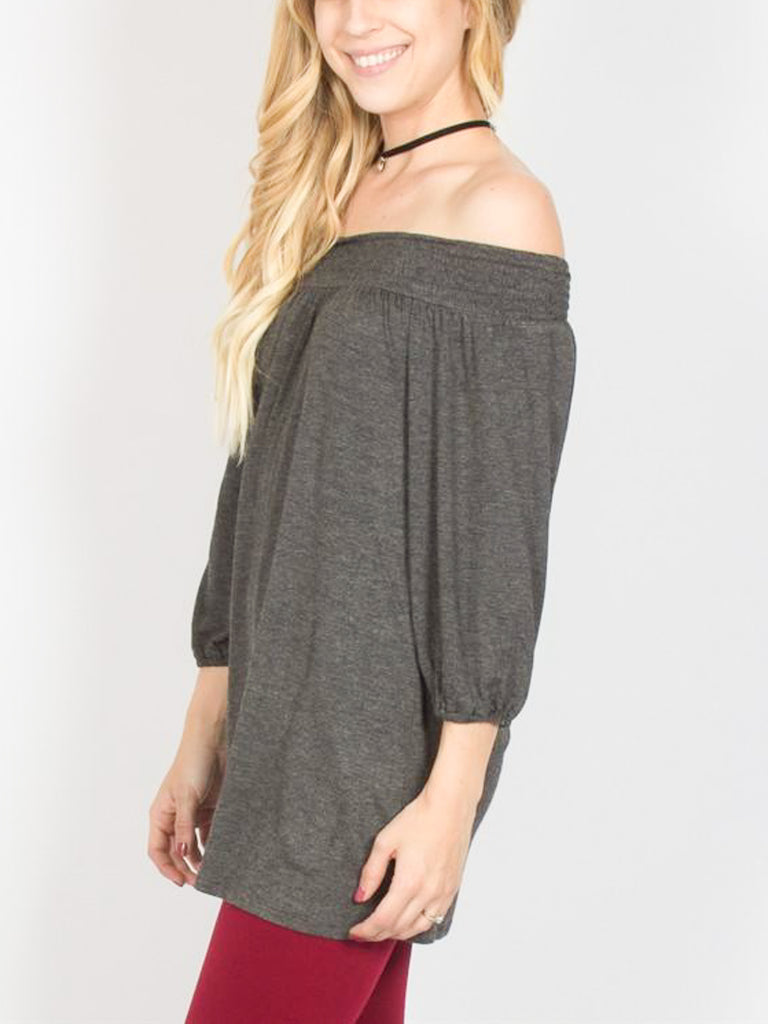 Allison Avery - Smocked Shoulder Top - Free Shipping Over $50