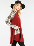 Allison Avery - Plaid Pocket Sweater Tunic - Free Shipping Over $50