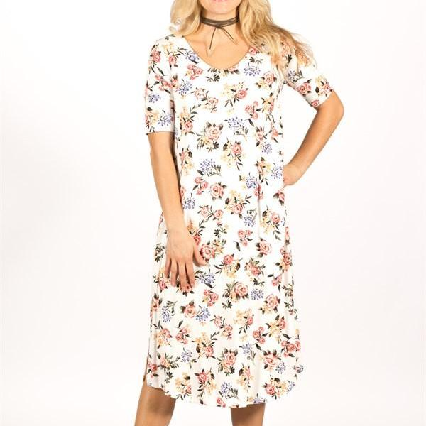 Allison Avery - 1 2 Sleeve Floral Midi Dress - Free Shipping Over $50