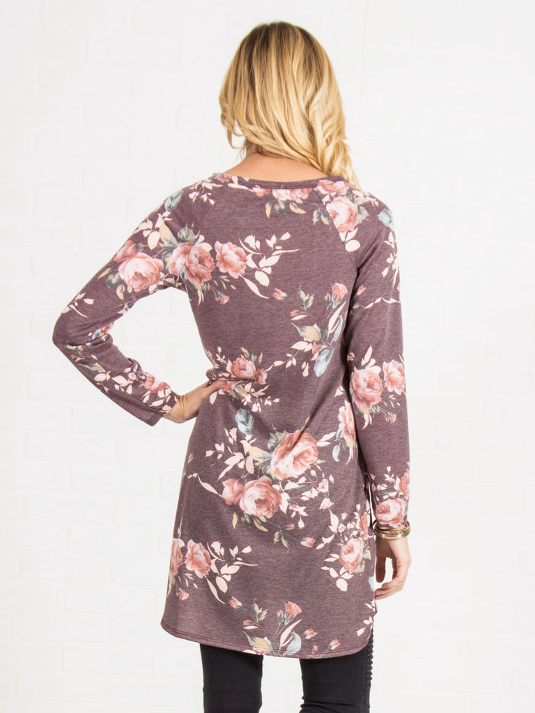 Allison Avery - Cozy Floral Pocket Tunic - Free Shipping Over $50
