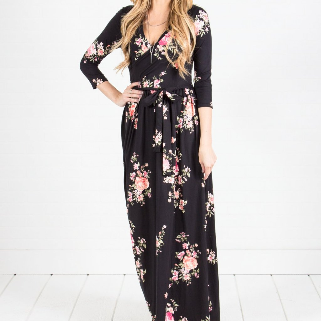 Allison Avery - 3 4 Sleeve Wrap Maxi Dress - Free Shipping Over $50