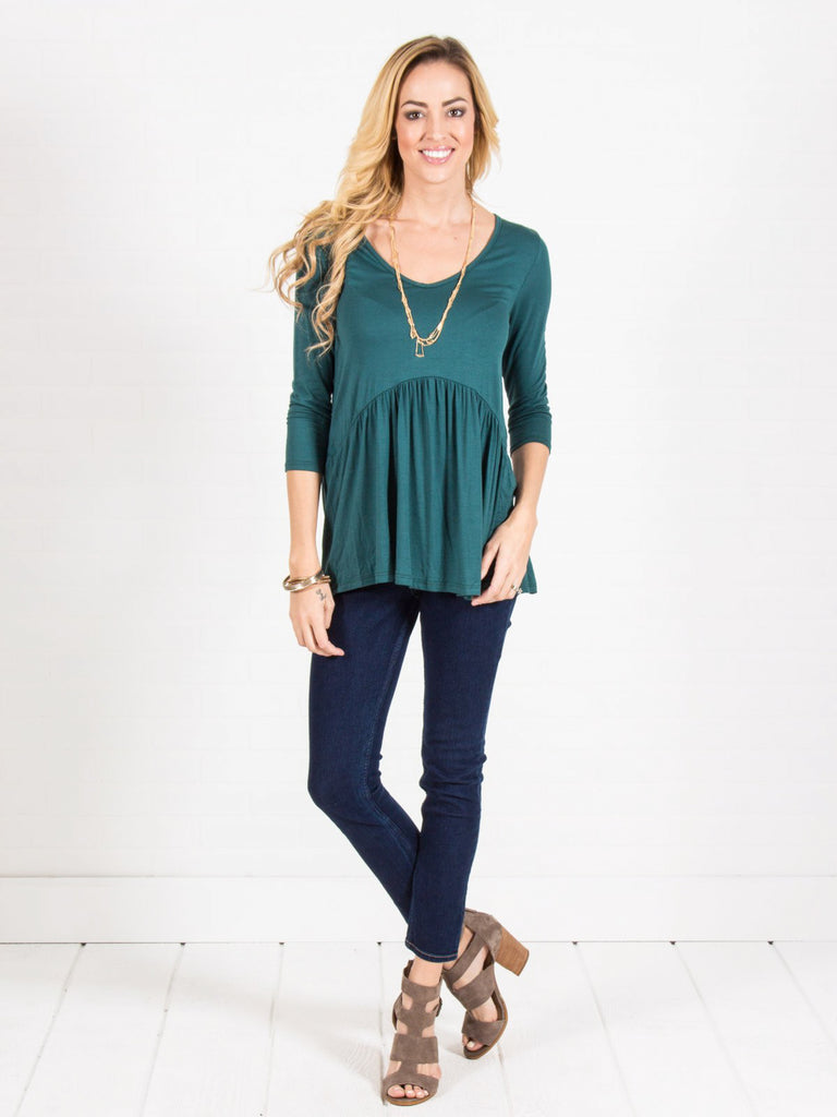 Allison Avery - 3 4 Sleeve Babydoll Top - Free Shipping Over $50