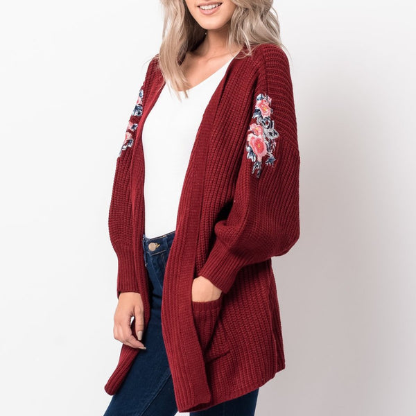 Chunky Embroidered Sleeve Cardigan