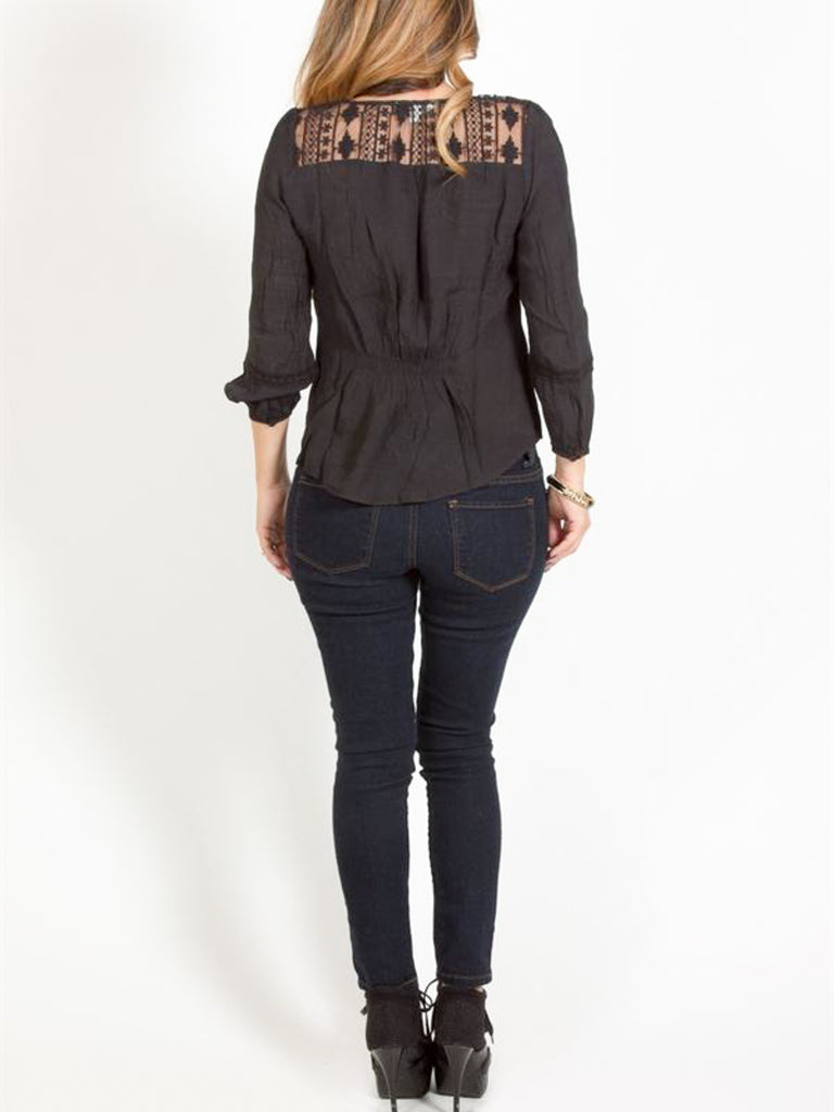 Allison Avery - Pleated Lace Detail Blouse - Free Shipping Over $50