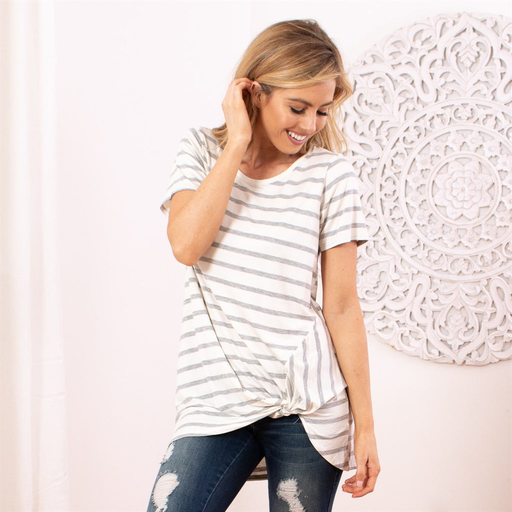 Striped Front Twist Tunic