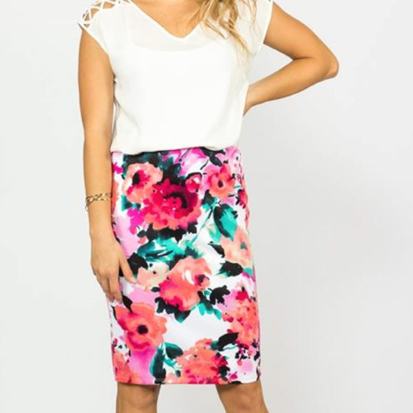 Allison Avery - Floral Pencil Skirt - Free Shipping Over $50