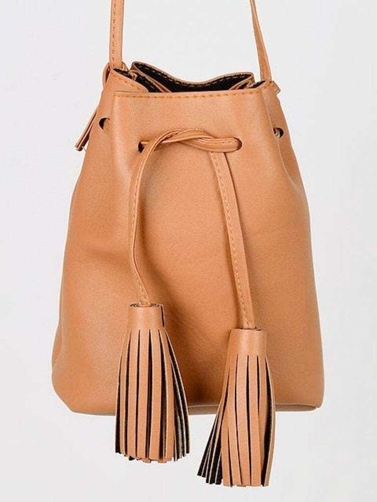 Tassel Drawstring Crossbody Purse