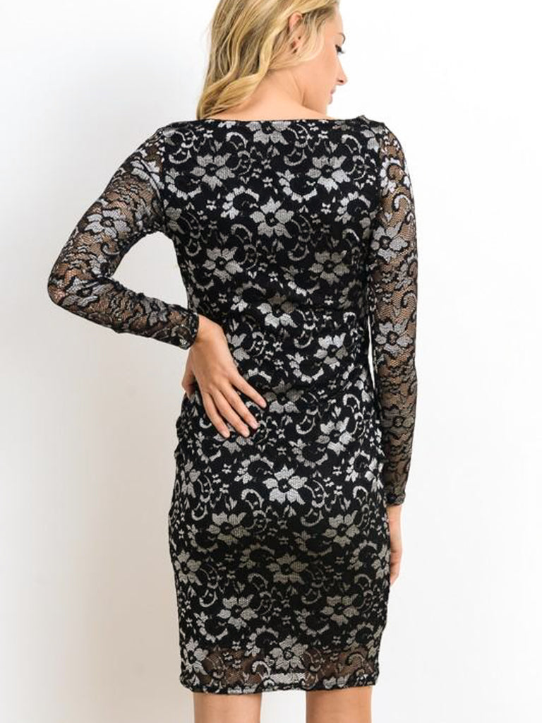 Allison Avery - Maternity Holiday Lace Dress - Free Shipping Over $50