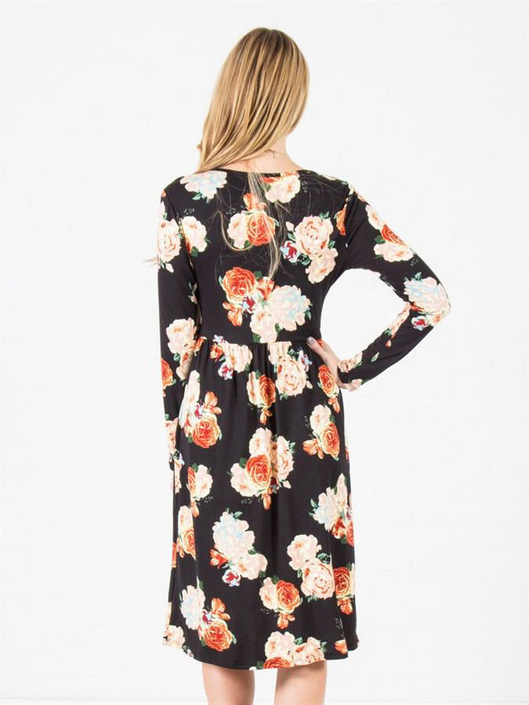 Allison Avery - Wrap Pocket Midi Dress - Free Shipping Over $50