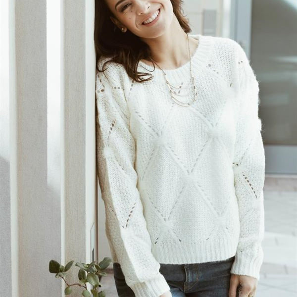 Allison Avery - Crochet Knit Sweater - Free Shipping Over $50