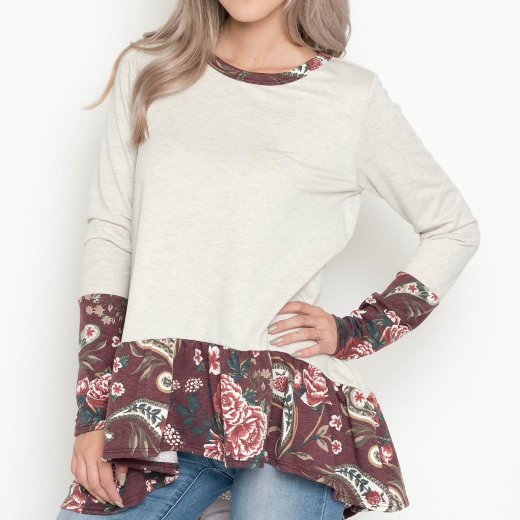 Allison Avery - Paisley Contrast Tunic - Free Shipping Over $50