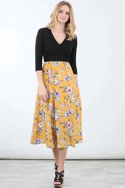 Allison Avery - Floral Contrast Wrap Dress - Free Shipping Over $50