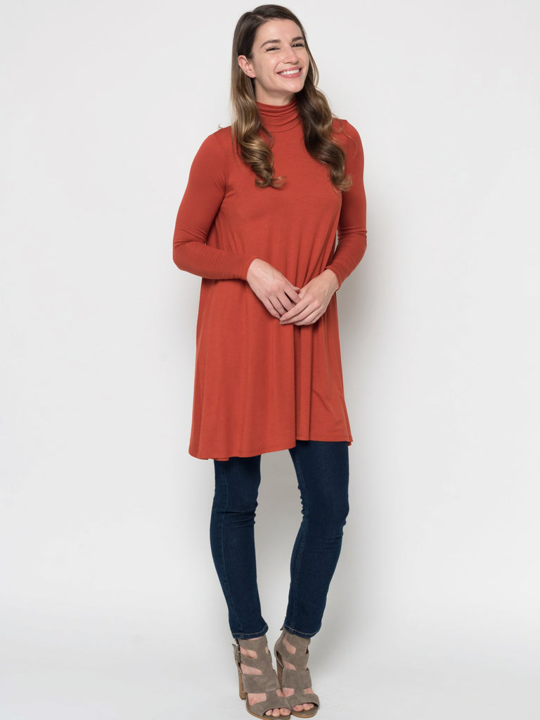 Allison Avery - Relaxed Mock Neck Tunic - Free Shipping Over $50