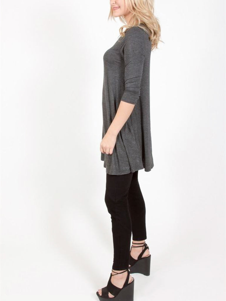 Allison Avery - 3 4 Sleeve Swing Tunic - Free Shipping Over $50