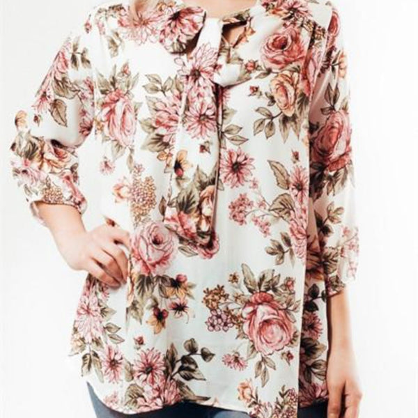 Allison Avery - Floral Tie Neck Blouse - Free Shipping Over $50