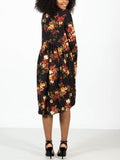 Allison Avery - Floral Ruffle Midi Dress - Free Shipping Over $50