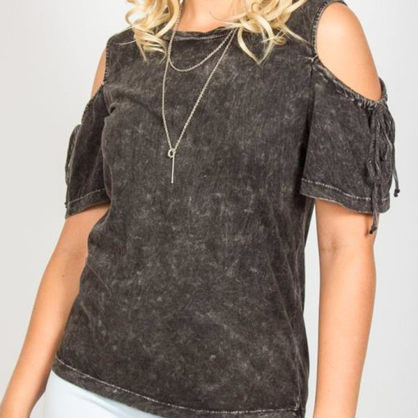 Allison Avery - Mineral Wash Cold Shoulder Top - Free Shipping Over $50