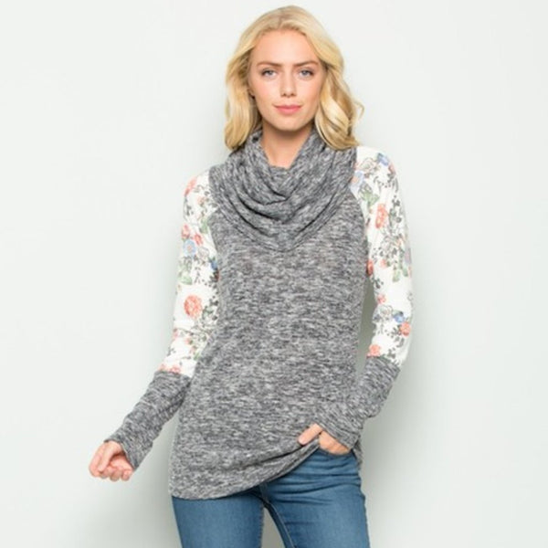 Heathered Floral Cowl Tunic