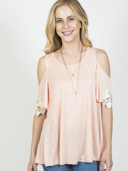 Allison Avery - Crochet Cold Shoulder Top - Free Shipping Over $50